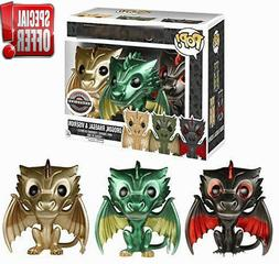 FUNKO POP GAME OF THRONES DROGON,  3-PACK RHAEGAL & VISERION