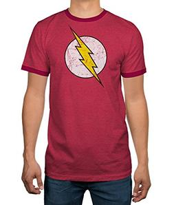 DC Comics Justice League Flash Logo Licensed Ringer Mens T-S