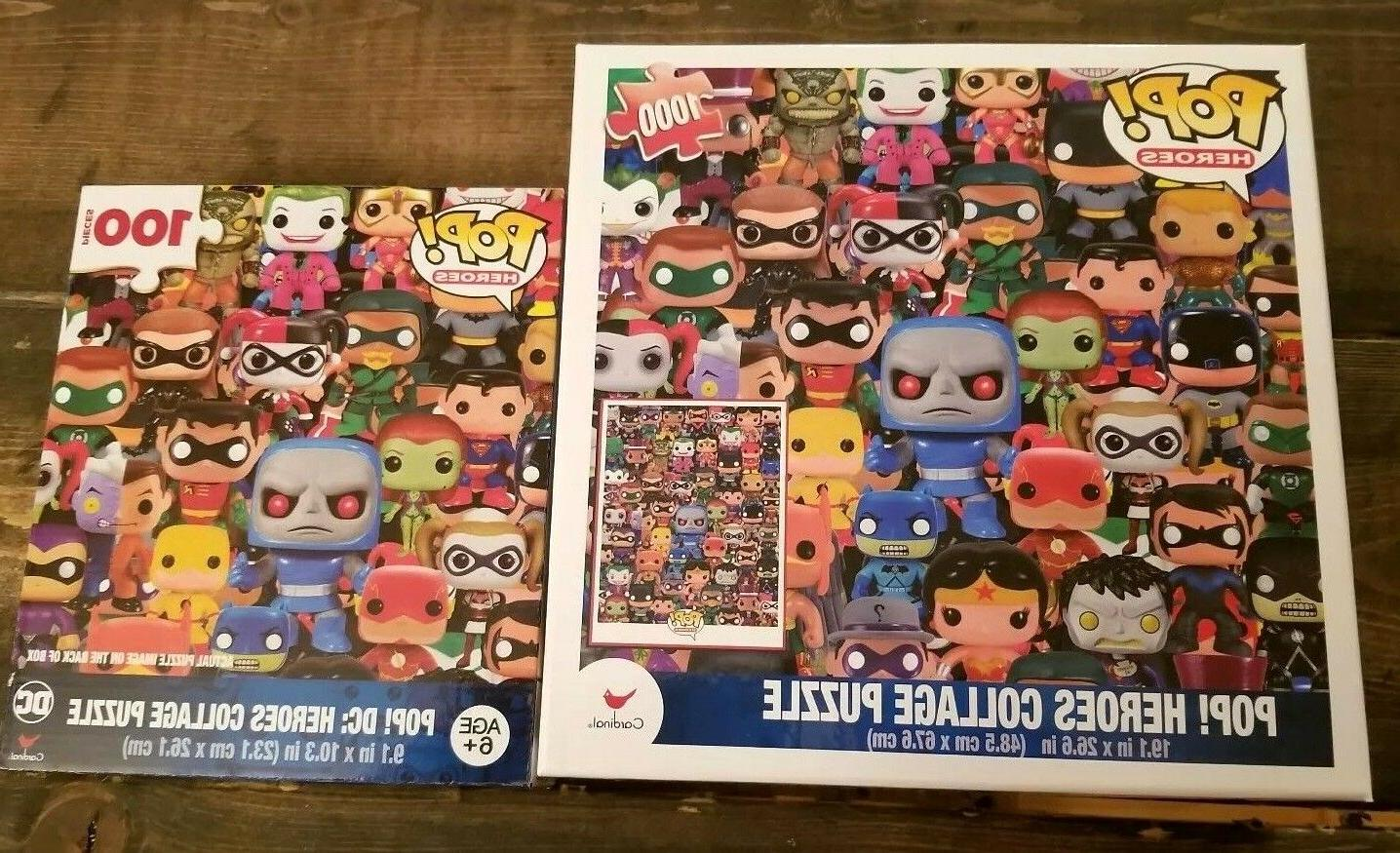 Funko Pop Puzzle Lot  1000 and 100 piece Pop! DC Heroes Coll