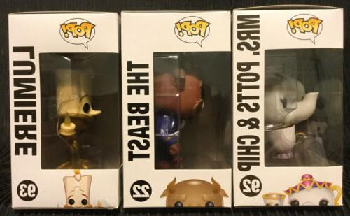 Funko Pop Disney and Beast 22 Mrs. 92 93 lot