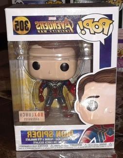 pop vinyl marvel iron spider unmasked boxlunch