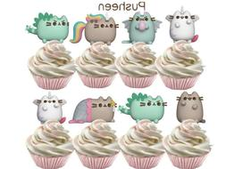 Pusheen Kitty Cat Cupcake Toppers Birthday Party Supplies Fa
